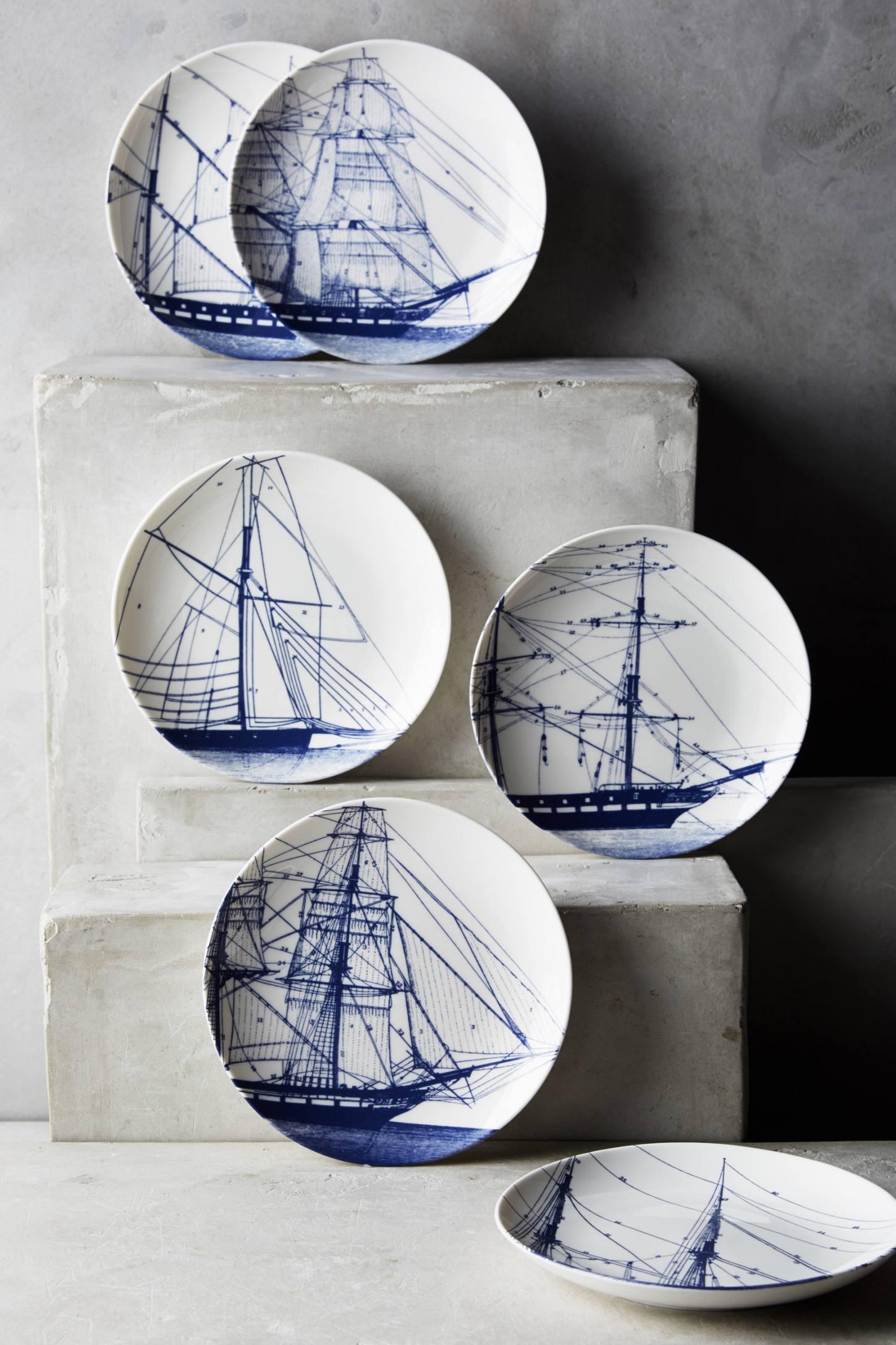 Caskata Rigging Blue Canape Plate Set