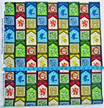 Warner Brothers H Potter Stain Glass Design with House Crests - 100% Cotton Fabric - Sold by The Yard