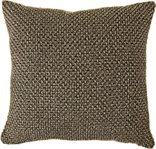 "Violet Linen Basketweave Design, Polyester Chenille Decorative Throw Pillow, 18"" X 18"", Gold"