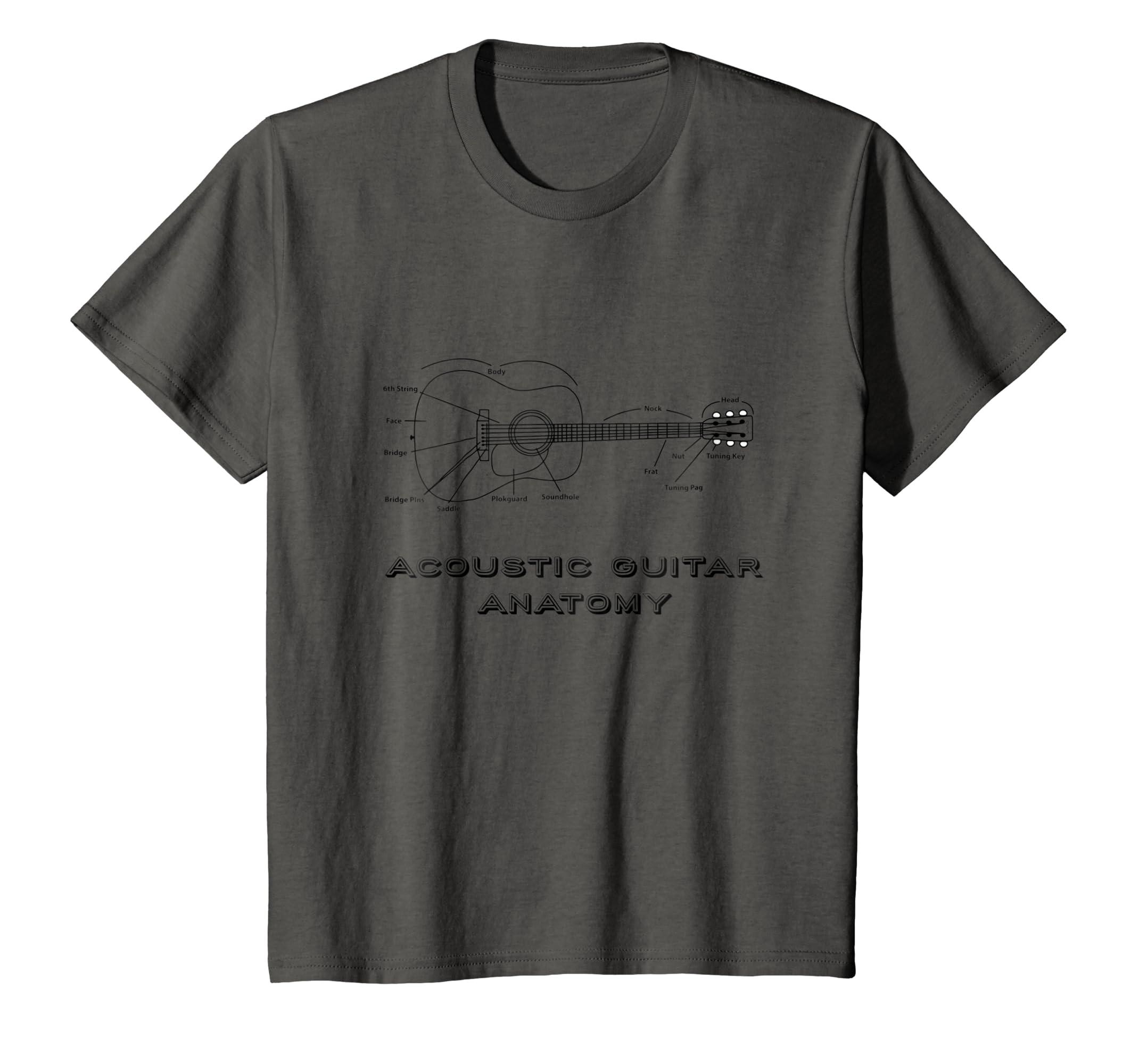 Amazon.com: Acoustic Guitar Anatomy T-Shirt Music Lover Tee Shirt ...