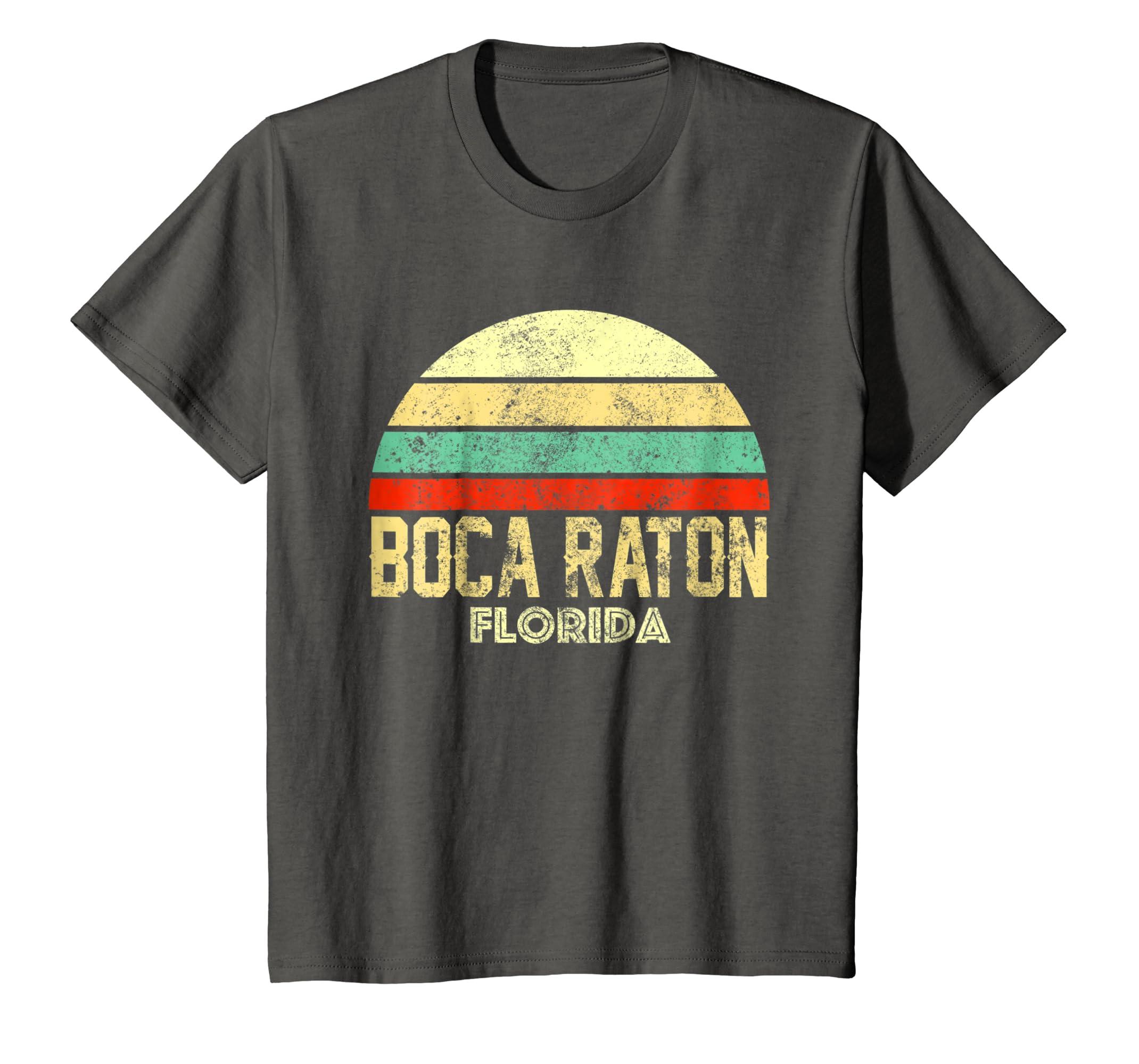 Amazon.com: Boca Raton FL Florida Vintage Retro Sunset Tee T ...