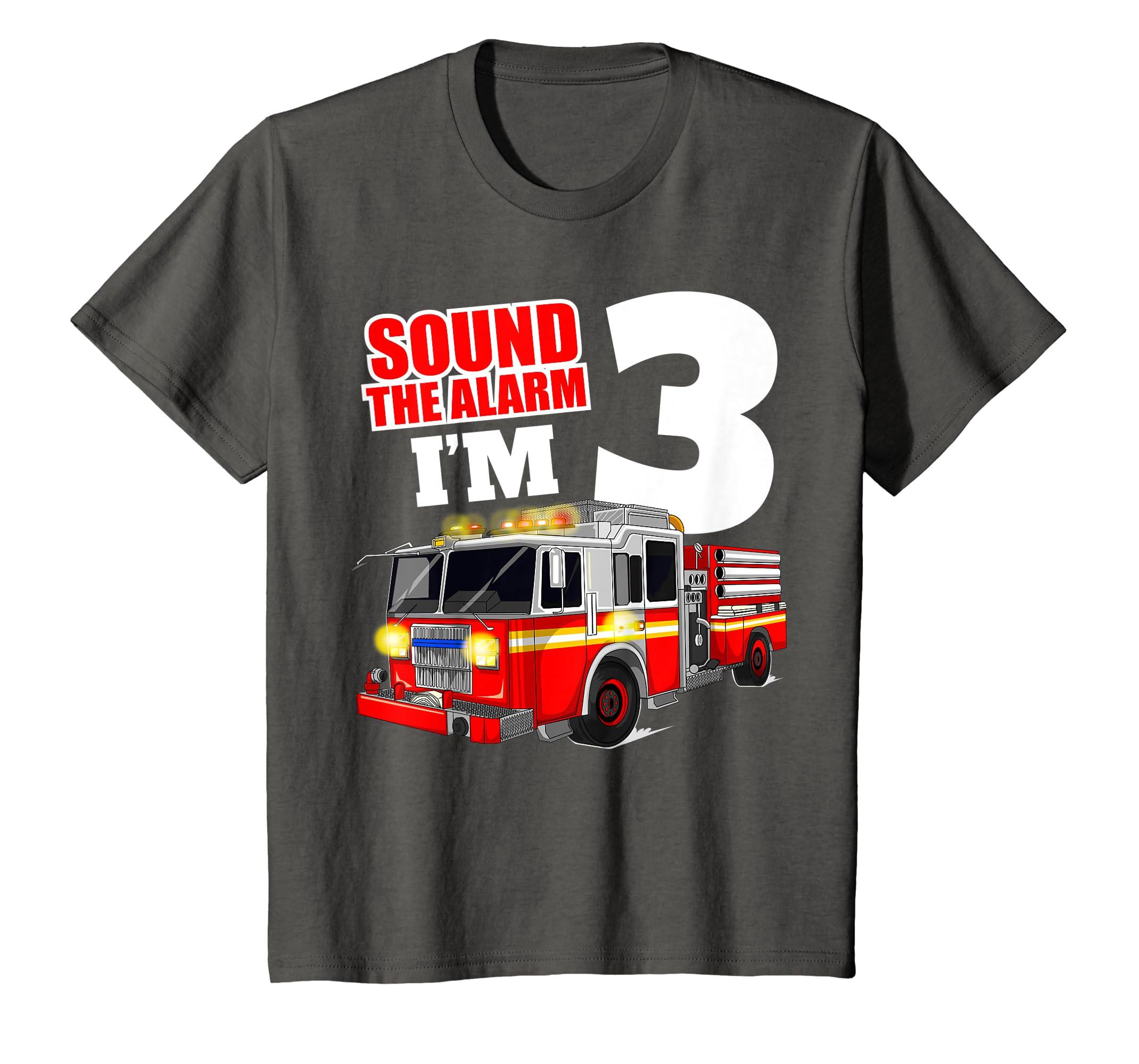 e7ffd4ca3 Amazon.com: Kids Fire Truck 3rd Birthday T Shirt Boy Toddler Firefighter Tee:  Clothing