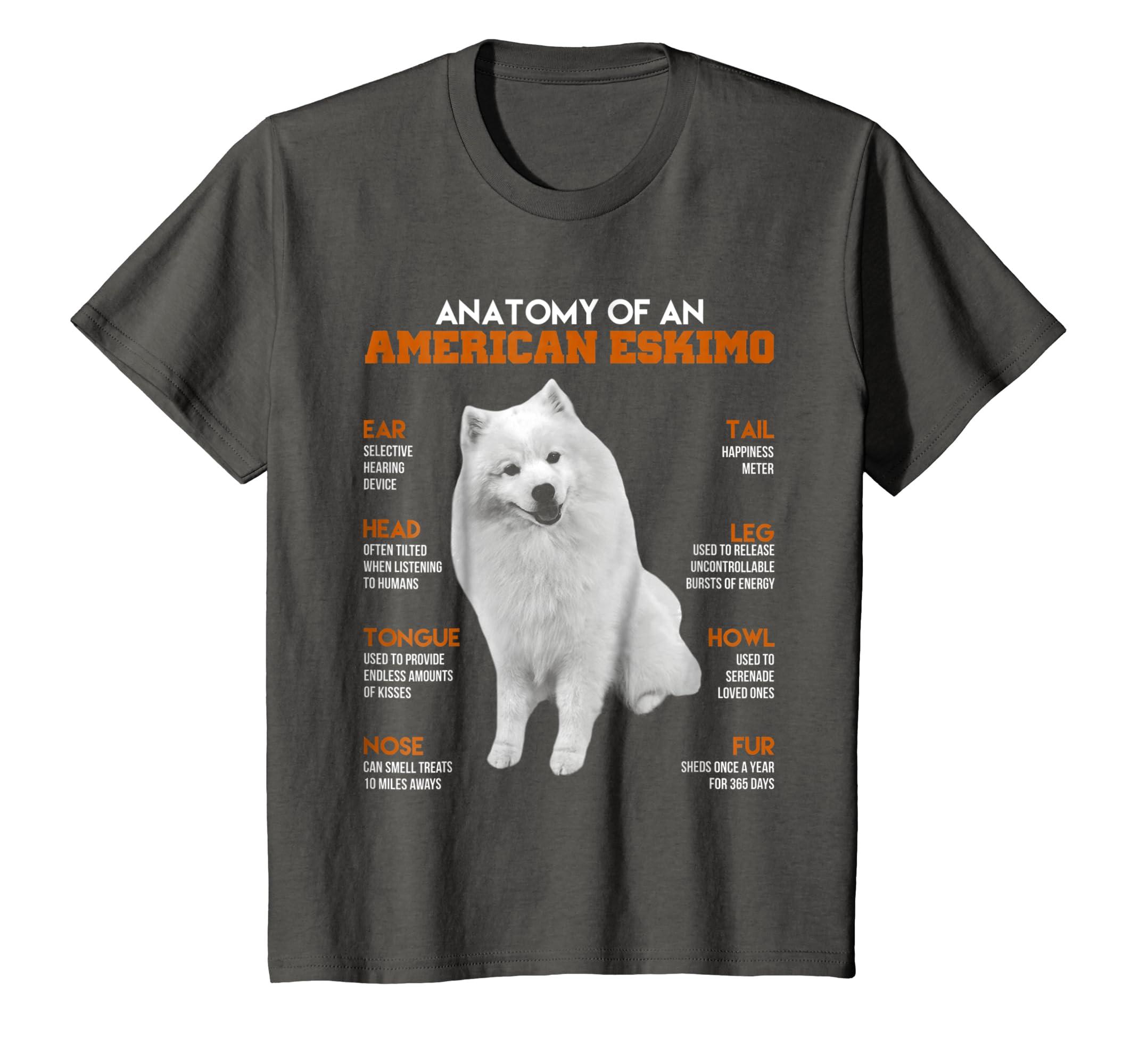 Amazon.com: Anatomy Of An American Eskimo Dogs T Shirt Funny Gift ...