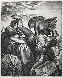 VintPrint Classic Art Poster - Prometheus to The Rocks of The Caucasus Chained/Tityus in Hell, Cornelis Cort, 1566 19.5