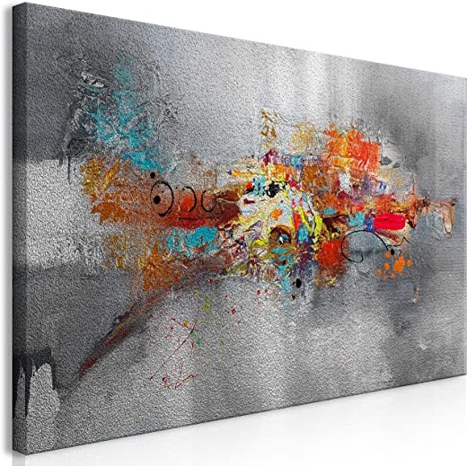 murando Silberbilder Wandbild Abstrakt 120×60 cm Silber Bilder Leinwandbild 1 TLG Wandbild XXL Format Kunstdruck Modern Wanddekoration Wohnzimmer…