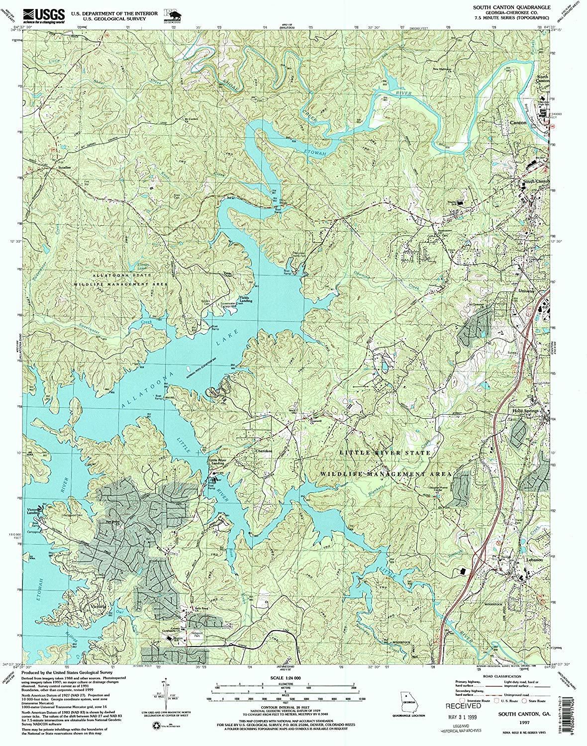 South Canton GA topo map, 1 24000 Scale, 7.5 X 7.5 Minute, Historical, 1997, Updated 1999, 26.9 x 22 in