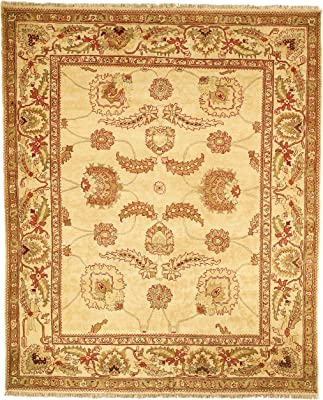Safavieh Zeigler Mahal Collection ZM15A Hand-Knotted Ivory Wool Area Rug, 6 feet by 9 feet (6' x 9')