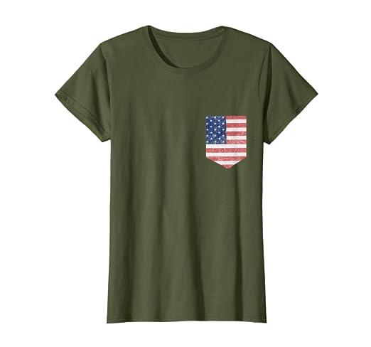 Amazon.com: Bandera americana patriótica bolsillo playera ...