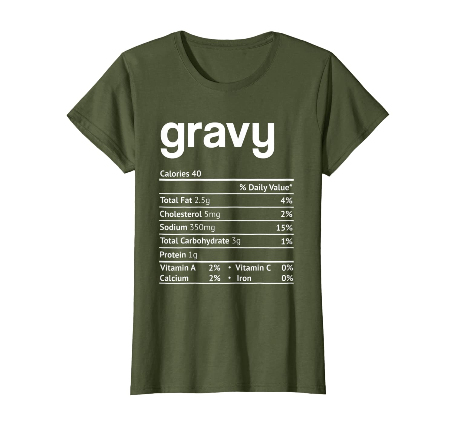 Gravy Nutrition Facts Funny Thanksgiving Christmas T-Shirt