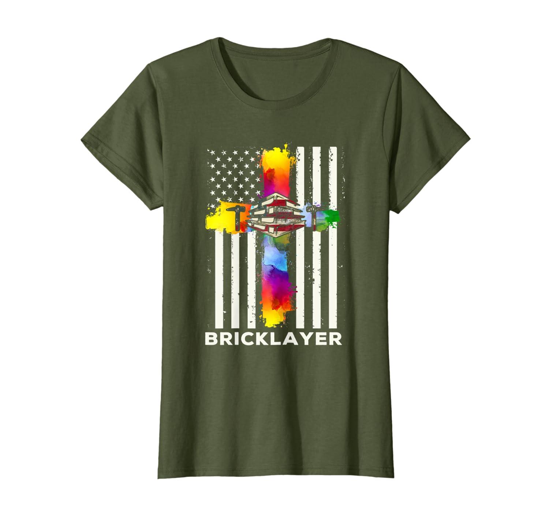 Bricklayer Flag Usa American Cross T-Shirt