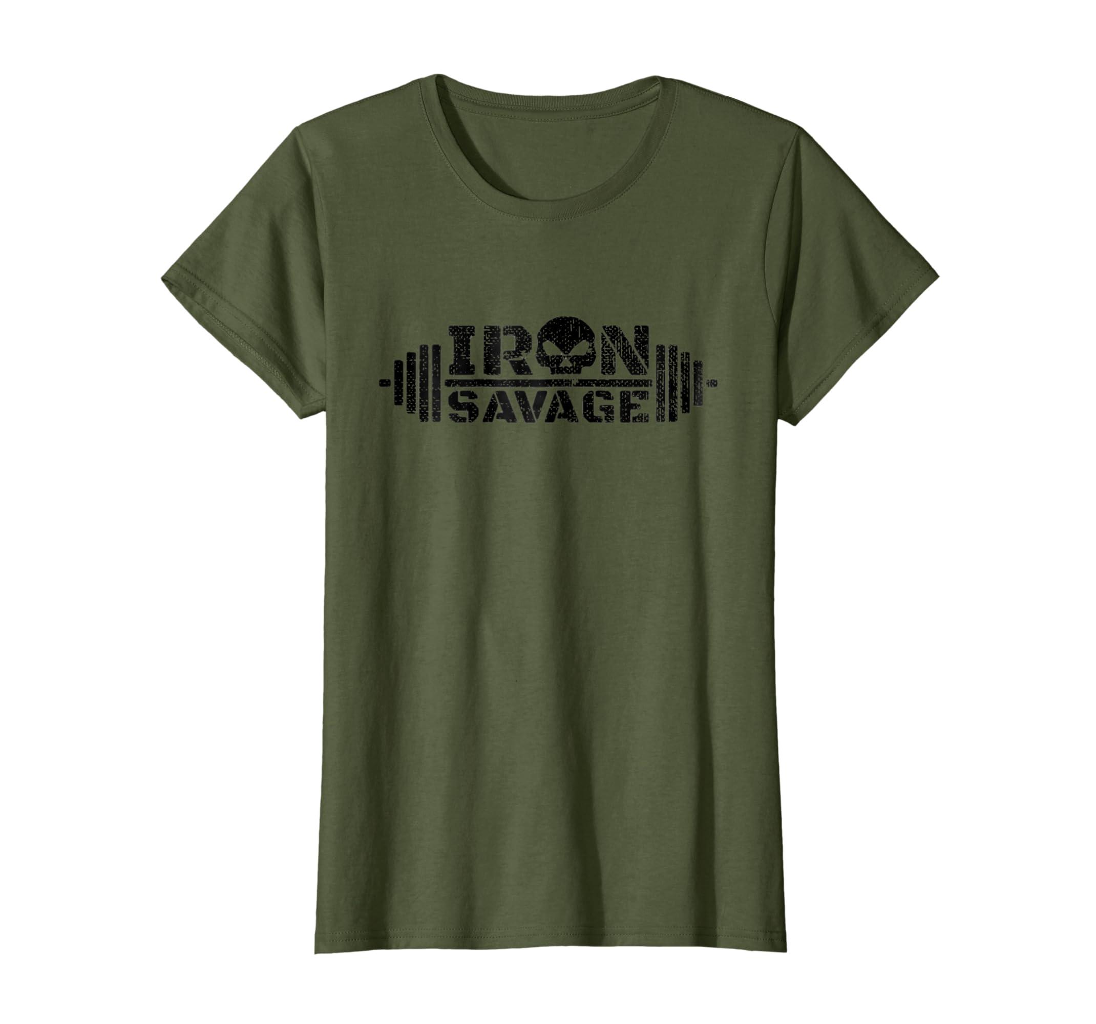 bec3568e Amazon.com: Iron Savage Barbell Bodybuilding Powerlifting T-Shirt: Clothing