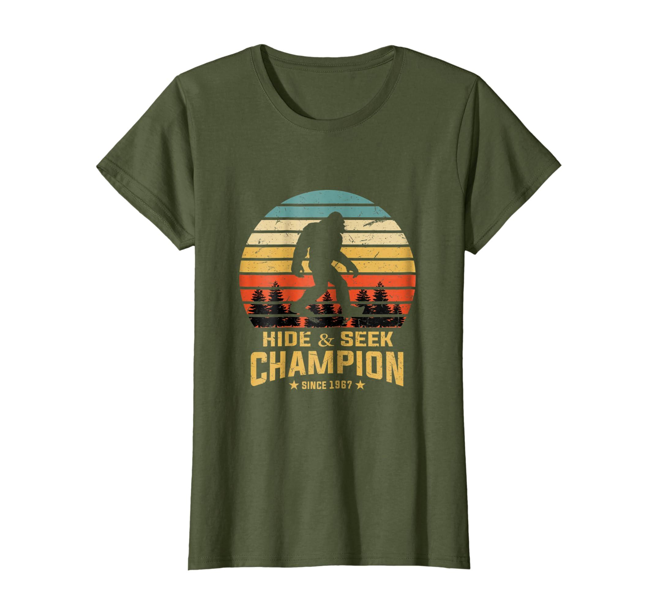 2aa680e8 Amazon.com: Hide and Seek World Champion T-Shirt Bigfoot Retro Vintage:  Clothing