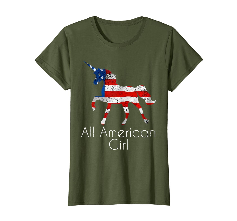 4th of July Unicorn Flag All American Girl Women Girls T-Shirt-ANZ