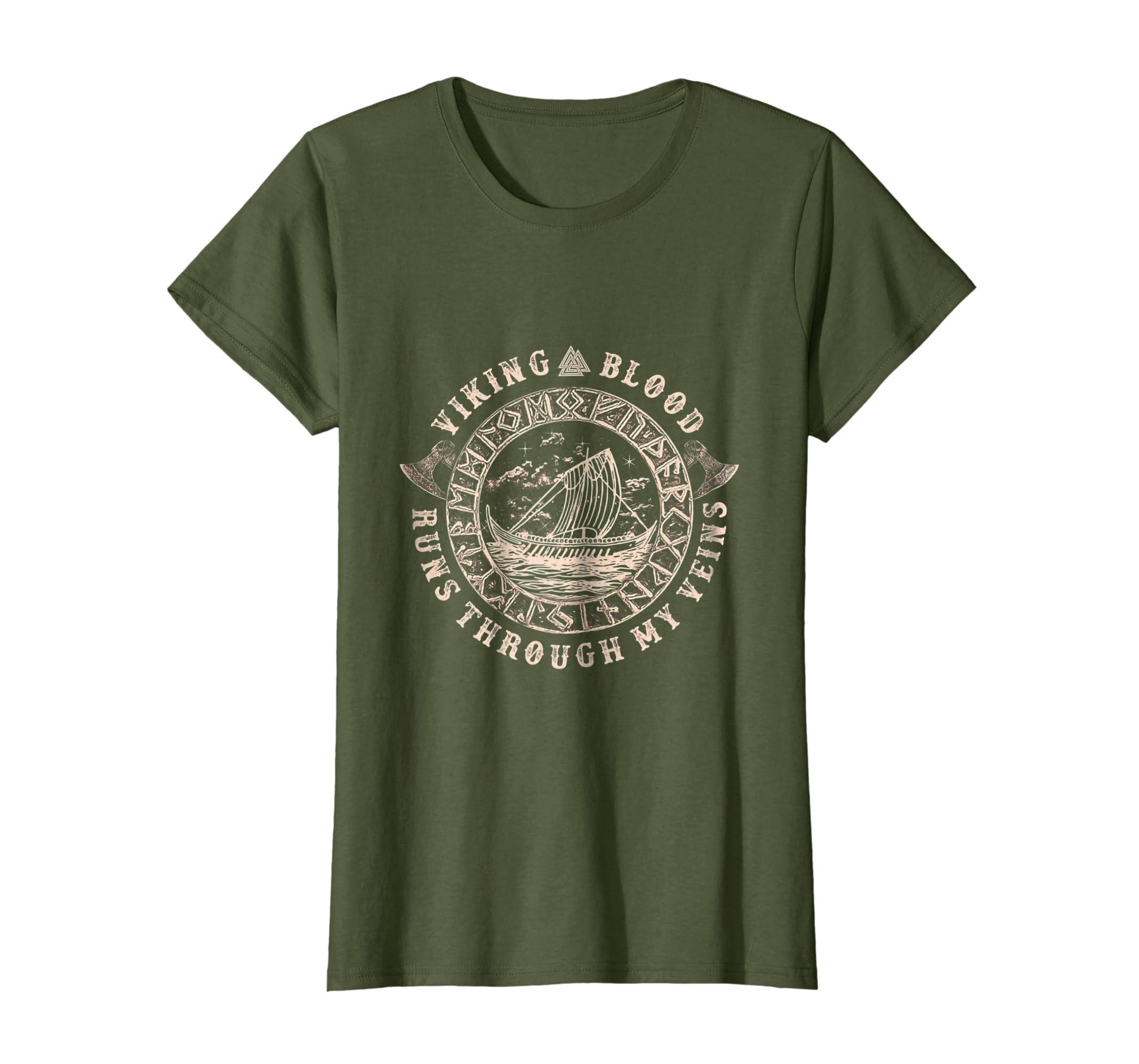 Viking Blood Runs through my Veins Viking T Shirt Circle-Bawle