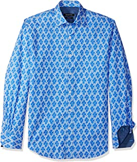 Bugatchi Men's Long Sleeve Printed Pattern Fitted Pointed Collar Shirt