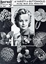 Craft Pattern 1940s Variety of Buttonholes Crochet Felt Wool Leather PomPoms