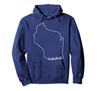 State Of Wisconsin Outline With Basketball Script Acj299b T-shirt Hoodie Navy
