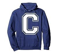 Letter C Capital Alphabet College Varsity Monogram Club T-shirt Hoodie Navy