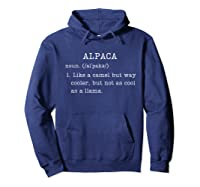Funny Alpaca Gifts Dictionary Definition Humor Animal Lovers T-shirt Hoodie Navy