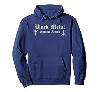 Black Metal Against Antifa Algiz Rune Graphic T-shirt Hoodie Navy