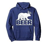 Beer Bear Plus Deer Equals Beer Funny Drinking Vintage Shirts Hoodie Navy
