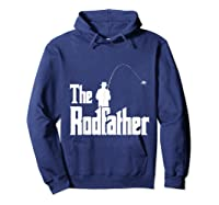 S The Rodfather Funny Fisherman T Shirt Sea, Fly Fishing Tee Hoodie Navy