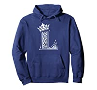 Alphabet Initial Letter L And King Queen Crown Shirts Hoodie Navy