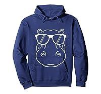 Hippopotamus Lover - Cool Hippo W/ Sunglass Tank Top Shirts Hoodie Navy