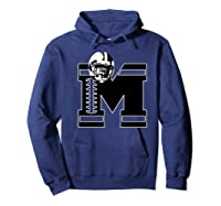 Football Monogrammed Gift Letter M Initial Shirts Hoodie Navy