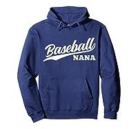 Baseball Nana 1970s Retro Cursive Font Dark Shirts Hoodie Navy