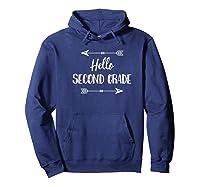 First Day Of School Shirt - Hello Second Grade Tea Shirt Hoodie Navy