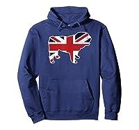 Union Jack English Bulldog Distressed Flag Uk Novelty Gift Shirts Hoodie Navy