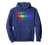 Distressed Flamingo Rainbow Lgbtq Pride T-shirt Hoodie Navy