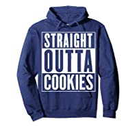 Straight Outta Cookies Distressed Vintage Funny Shirts Hoodie Navy