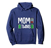Tired Mom Low Battery Twins Full Charge Funny Happy Birthday Shirts Hoodie Navy
