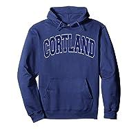 Cortland Varsity Style Navy Blue Text Shirts Hoodie Navy