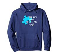 Autism Awareness Shirt I Am His Voice He Is My Heart Puzzle Hoodie Navy