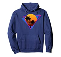 80s Style Synthwave Retrowave Aesthetic Palm Tree Sunset Shirts Hoodie Navy