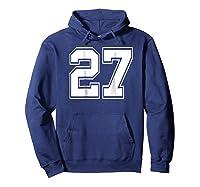 Number 27 Football Baseball Soccer Uniform T Shirt Hoodie Navy