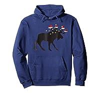 Moose Christmas Pajama Shirts Hoodie Navy
