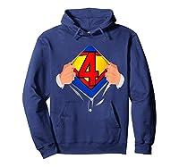 4 Year Old Superhero Birthday Party Super Hero 4th Gift Shirts Hoodie Navy