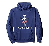 Adult Humor Halloween Skeleton Wanna Bang Pun Shirts Hoodie Navy