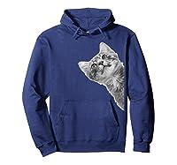 Sneaky Cute Looking Kitten T-shirt Hoodie Navy
