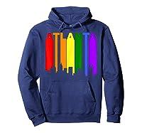 Atlanta Georgia Lgbtq Gay Pride Rainbow Skyline T-shirt Hoodie Navy