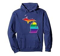 Rainbow Michigan Gay Pride Flag Vintage Shirts Hoodie Navy