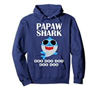 Papaw Shark T-shirt Doo Doo Doo Fathers Day Papaw Shirt Hoodie Navy