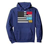 Awesome Since December 1935 Birthday Gift Usa Flag Retro Shirts Hoodie Navy