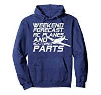 Rc Plane T-shirt For Guys Rc Planes And Scattered Parts Hoodie Navy