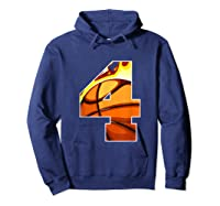 Number 4 Basketball Gift T-shirt Hoodie Navy