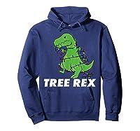 Tree Rex Christmas T Rex Dinosaur Christmas Gift Shirts Hoodie Navy